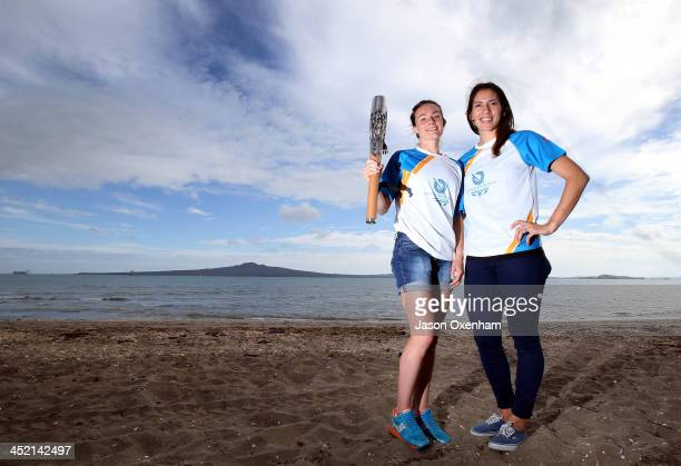 New Zealand Commonwealth Games athletes Nikki Hamblin and Joelle King pose during the arrival of the 2014 Glasgow Commonwealth Games Queen's Baton at...