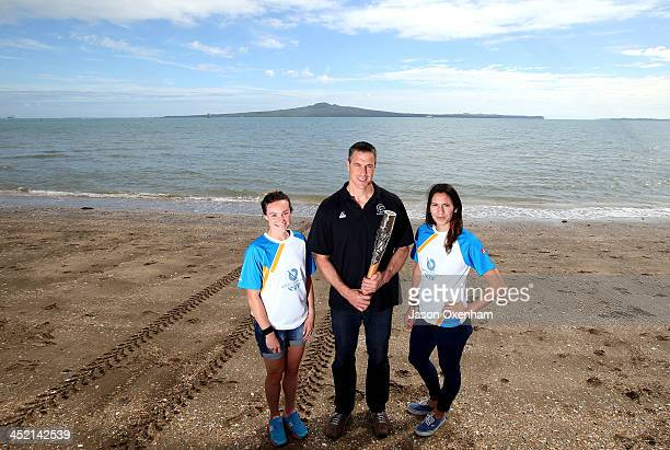 New Zealand Commonwealth Games athletes Nikki Hamblin Chef de Mission Rob Waddell and Joelle King pose during the arrival of the 2014 Glasgow...