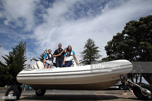 New Zealand Commonwealth Games athletes Nikki Hamblin Chef de Mission Rob Waddell and Joelle King on an amphibious Sealegs boat during the arrival of...