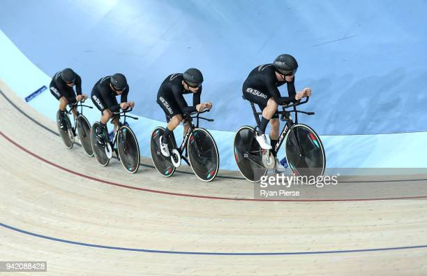 New Zealand compete in the Men's 4000m Team Pursuit Qualifying during the Cycling on day one of the Gold Coast 2018 Commonwealth Games at Anna Meares...