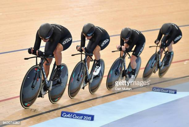 New Zealand compete in the Women's 4000m Team Pursuit Qualifying during the Cycling on day one of the Gold Coast 2018 Commonwealth Games at Anna...