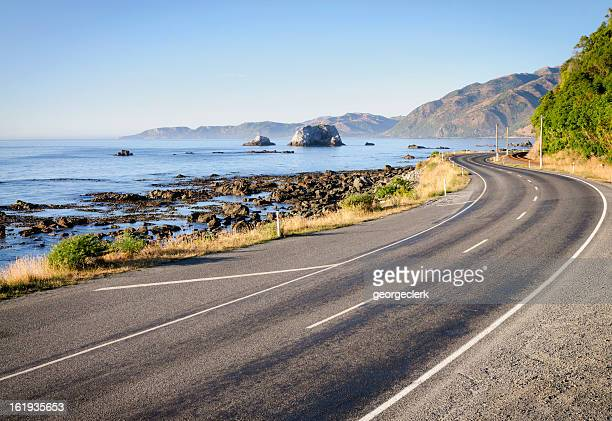 new zealand country road - coastline stock pictures, royalty-free photos & images