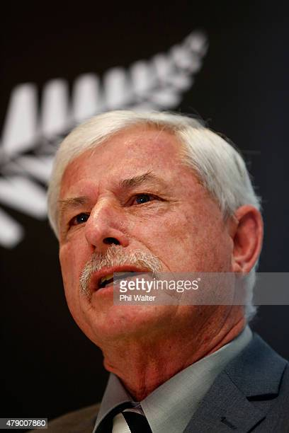 New Zealand Cricket board member Sir Richard Hadlee speaks during a New Zealand Cricket press conference at the NZC Grafton Headquarters on June 30...