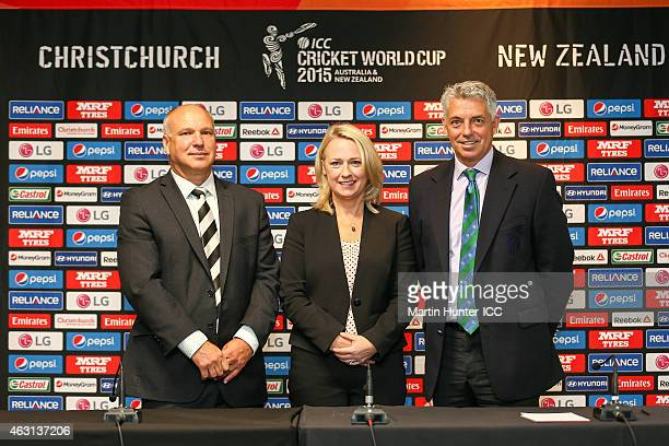 New Zealand cricket CEO David White New Zealand Cricket World Cup Chief Executive Therese Walsh and ICC Chief Executive David Richardson pose after a...