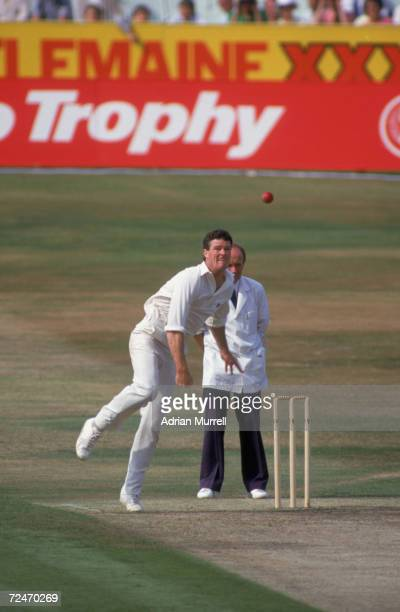 New Zealand cricketer John Bracewell bowls during the 1st OneDay International at Headingley 16th July 1986