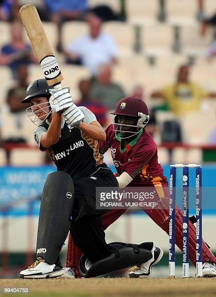 New Zealand cricketer Sara McGlashan plays a shot during the Women's ICC World Twenty20 second semifinal match between New Zealand and West Indies at...