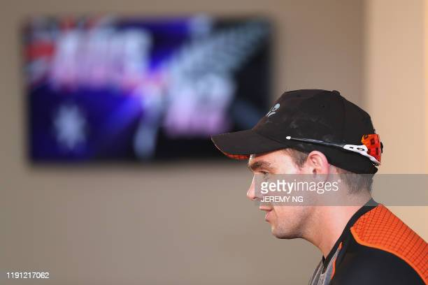 New Zealand cricketer Tom Latham speaks during a press conference on the eve of the third cricket Test match between Australia and New Zealand in...