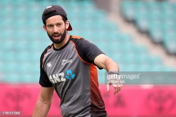 New Zealand cricketer William Somerville attends a training session on the eve of the third cricket Test match between Australia and New Zealand in...