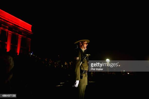 New Zealand Defence Force personnel stand in formation around the cenotaph at the War Memorial Museum on April 25 2014 in Auckland New Zealand...
