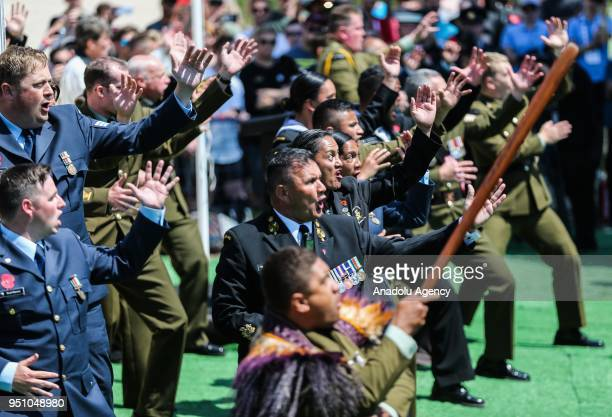New Zealand Defence Forces' units perform haka dance a traditional ancestral war cry after the ceremony at New Zealand Memorial at Chunuk Bair...