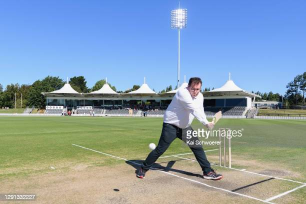 New Zealand Deputy Prime Minister Grant Robertson bats during the ICC Women's Cricket World Cup 2022 match schedule announcement at Hagley Oval on...