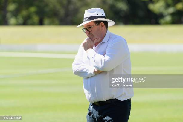 New Zealand Deputy Prime Minister Grant Robertson looks on during the ICC Women's Cricket World Cup 2022 match schedule announcement at Hagley Oval...
