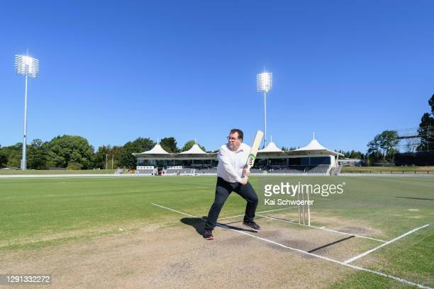 New Zealand Deputy Prime Minister Grant Robertson looks to bat during the ICC Women's Cricket World Cup 2022 match schedule announcement at Hagley...