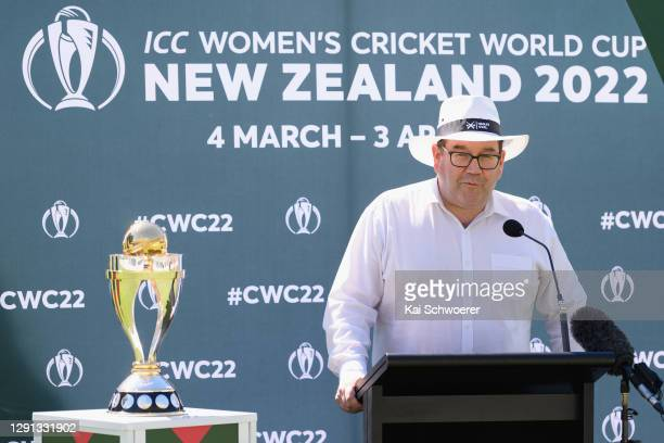 New Zealand Deputy Prime Minister Grant Robertson speaks during the ICC Women's Cricket World Cup 2022 match schedule announcement at Hagley Oval on...