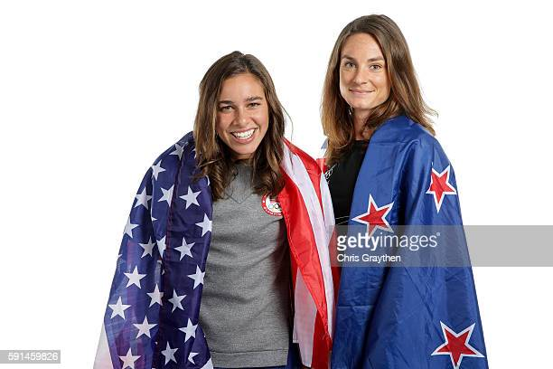 New Zealand distance runner Nikki Hamblin and American runner Abbey D'Agostino pose for a portrait on August 17 2016 in Rio de Janeiro Brazil Hamblin...