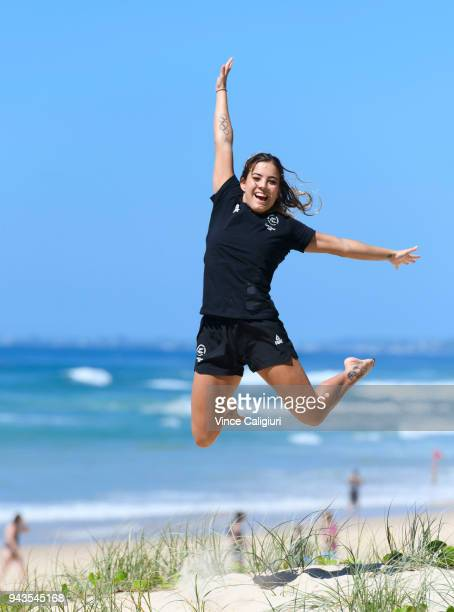 New Zealand diver Lizzie Cui poses for a photo on Surfers Paradise beach on day five of the Gold Coast 2018 Commonwealth Games on April 9 2018 on the...