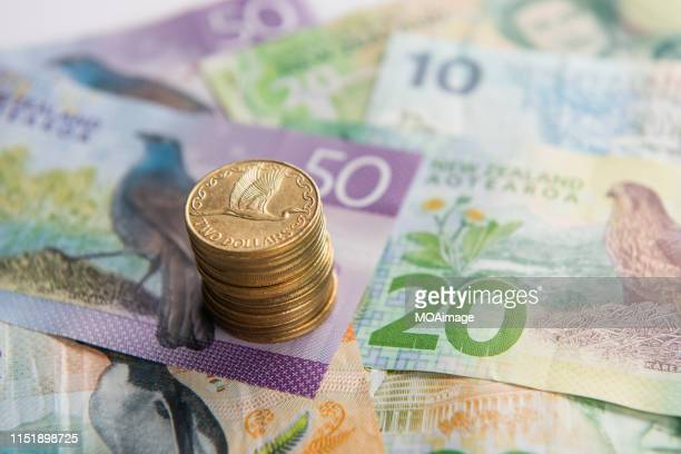new zealand dollar coins and banknotes - finance and economy stock pictures, royalty-free photos & images