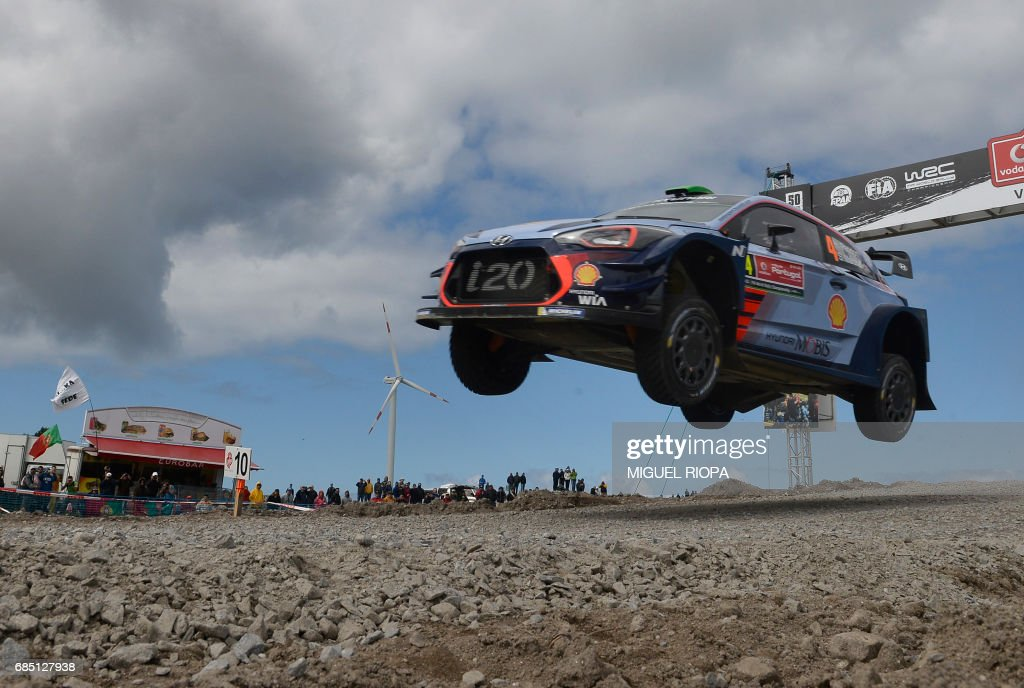 New Zealand driver and co-driver, Hayden Paddon and John Kennard, steer their Hyundai i20 Coupe WRC in Viana do Castelo, northern Portugal, on May 19, 2017, during the first stage of the Portugal WCR rally. /