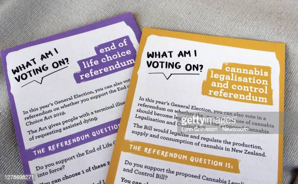 New Zealand Electoral Commission information materials on the End of Life Choice and Cannabis Legalisation and Control referendums, voted on as part...