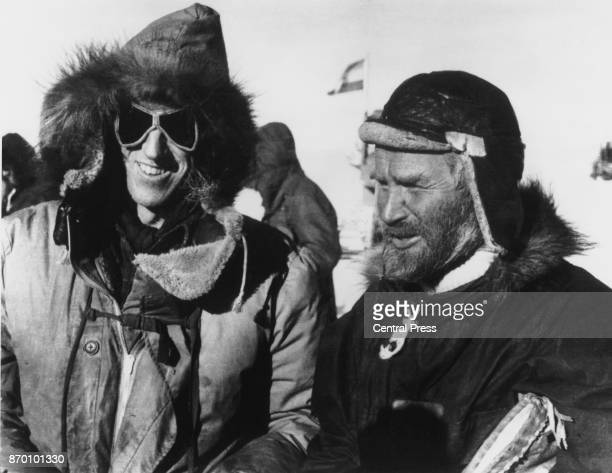 New Zealand explorer Sir Edmund Hillary just after meeting English explorer Vivian Fuchs at the South Pole 20th January 1958 The two men were leading...