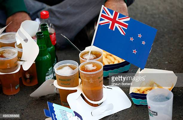 New Zealand fan enjoy a prematch beer during the 2015 Rugby World Cup Final match between New Zealand and Australia at Twickenham Stadium on October...