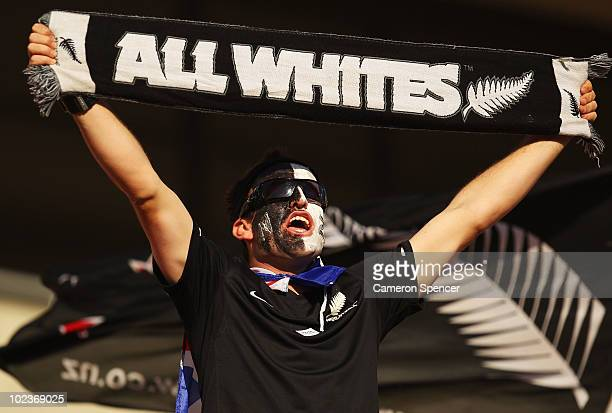 New Zealand fan enjoys the atmosphere ahead of the 2010 FIFA World Cup South Africa Group F match between Paraguay and New Zealand at Peter Mokaba...