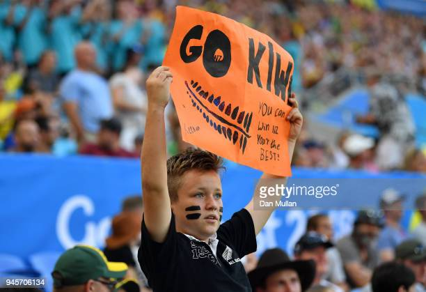 New Zealand fan shows his support during the Rugby Sevens Women's Pool A match between New Zealand and Kenya on day nine of the Gold Coast 2018...