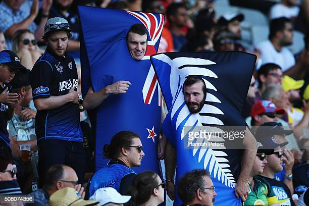 New Zealand fans are seen during the One Day International match between New Zealand and Australia at Eden Park on February 3 2016 in Auckland New...