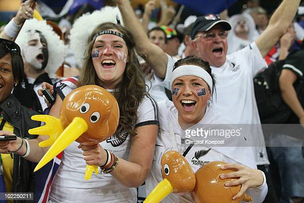 New Zealand fans celebrate after a draw in the 2010 FIFA World Cup South Africa Group F match between Italy and New Zealand at the Mbombela Stadium...