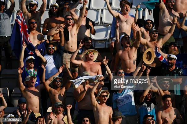 New Zealand fans cheer during the Reserve Day of the ICC World Test Championship Final between India and New Zealand at The Hampshire Bowl on June...