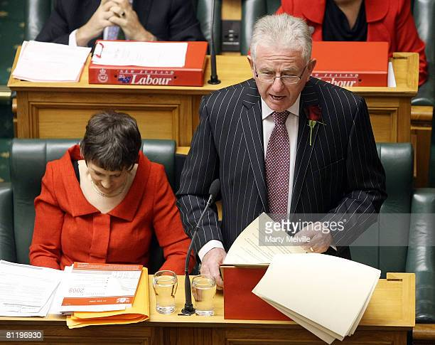 New Zealand Finance Minister Dr Michael Cullen delivers the 2008 Budget flanked by New Zealand Prime Minister Helen Clark at Parliament House May 22...