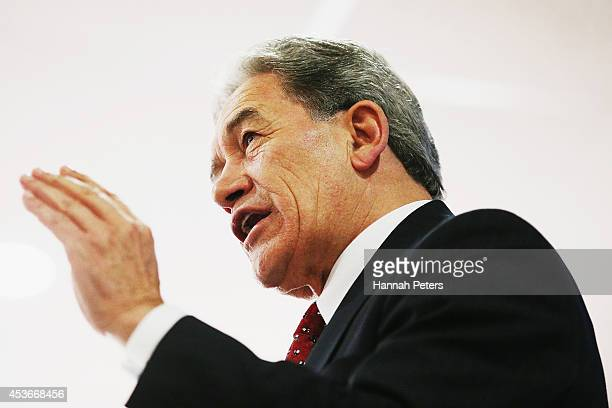 New Zealand First Leader Winston Peters addresses the public at a meeting in Panmure Yacht Club August 16, 2014 in Auckland, New Zealand. These...