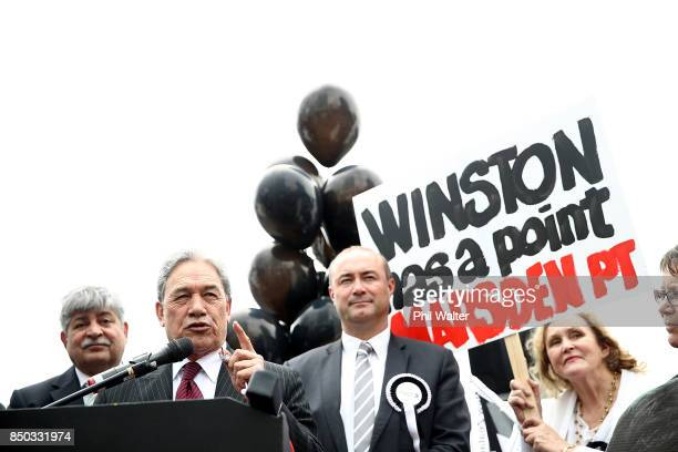 New Zealand First Leader Winston Peters attends a rally on September 21 2017 in Auckland New Zealand NZ First are in vavour of moving Ports of...