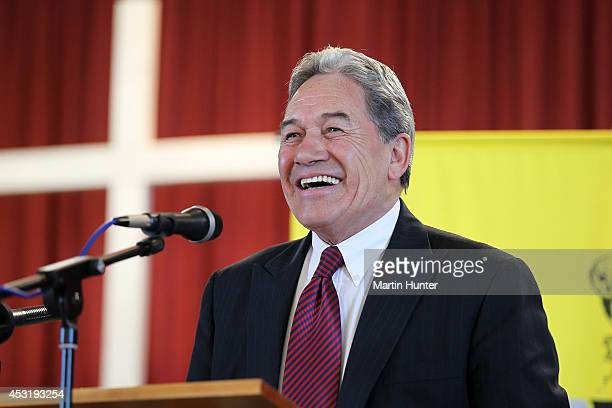 New Zealand First Leader Winston Peters gives a speech on land sales to foreign investors at Rangiora Grey Power public meeting at Rangiora Baptist...
