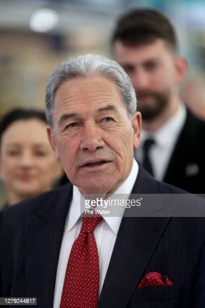 New Zealand First Leader Winston Peters meets wityh shoppers as he campaigns in Southmall, Manurewa on October 09, 2020 in Auckland, New Zealand. The...