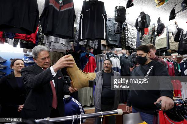 New Zealand First Leader Winston Peters on the campaign trail as he meets people in Otahuhu on September 30, 2020 in Auckland, New Zealand. The 2020...