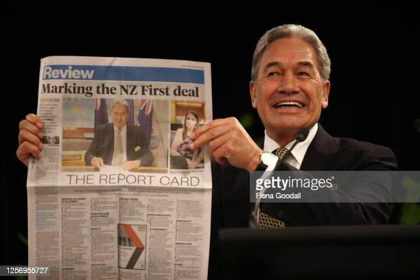 New Zealand First leader Winston Peters remarks on a NZ Herald article during his speech at the New Zealand First Convention and Campaign Launch on...