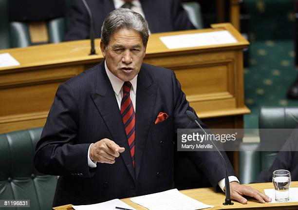 New Zealand First leader Winston Peters responds to the 2008 Budget at Parliament House May 22 2008 in Wellington New Zealand Finance Minister Dr...