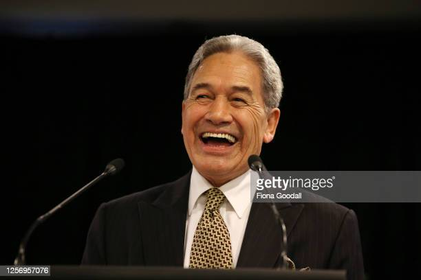 New Zealand First leader Winston Peters speaks at the New Zealand First Convention and Campaign Launch on July 19, 2020 in Auckland, New Zealand. The...
