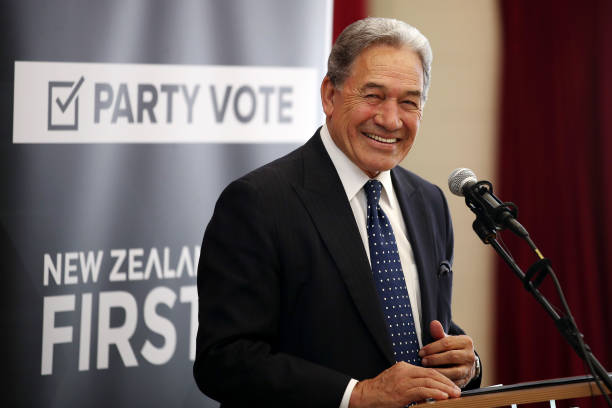 NZL: New Zealand First Leader Winston Peters Campaigns In Orewa