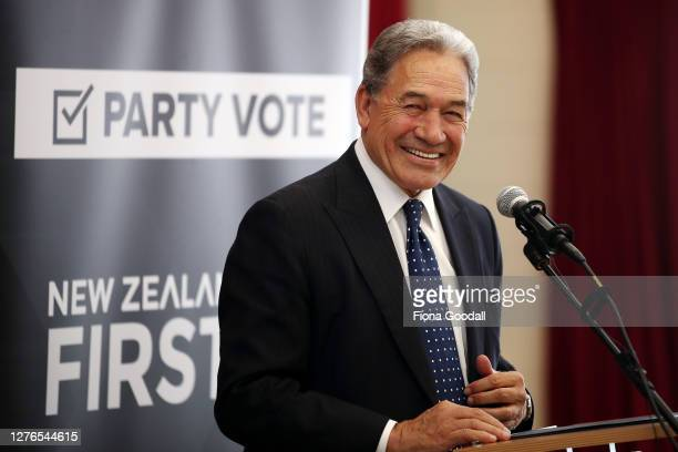 New Zealand First leader Winston Peters speaks in Orewa on September 25, 2020 in Auckland, New Zealand. The 2020 New Zealand General Election will be...