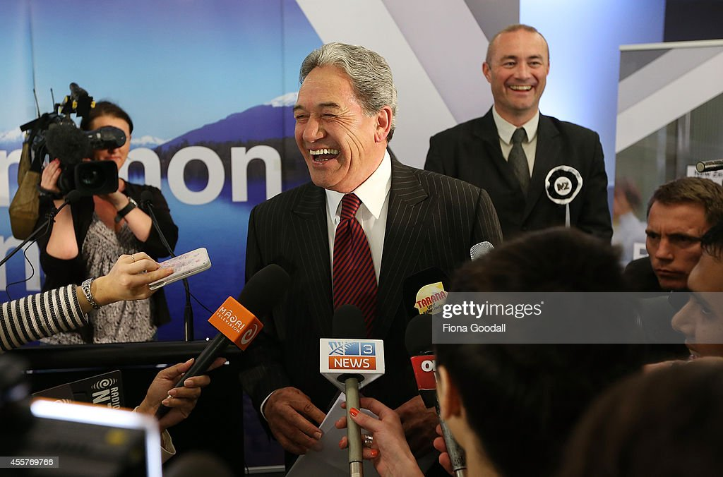 New Zealand First Leader Winston Peters speaks to media in Takapuna on September 20, 2014 in Auckland, New Zealand. Voters went to the polls today to elect the 51st Parliament of New Zealand.