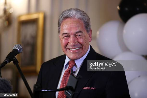 New Zealand First leader Winston Peters speaks to supporters at the Duke of Marlborough Hotel on Saturday, October 17, 2020. The 2020 New Zealand...