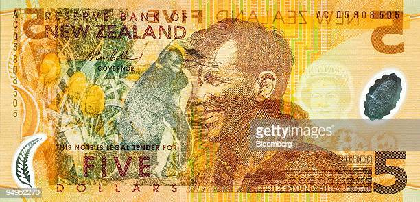 New Zealand fivedollar bill featuring the image of Mount Everest climber Sir Edmund Hillary is arranged for a photograph in Wellington New Zealand on...