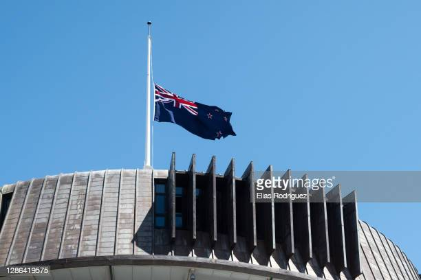 New Zealand flag is seen at half mast on top of the Beehive on the tenth anniversary of the Pike River Mine disaster, November 19, 2020 in...