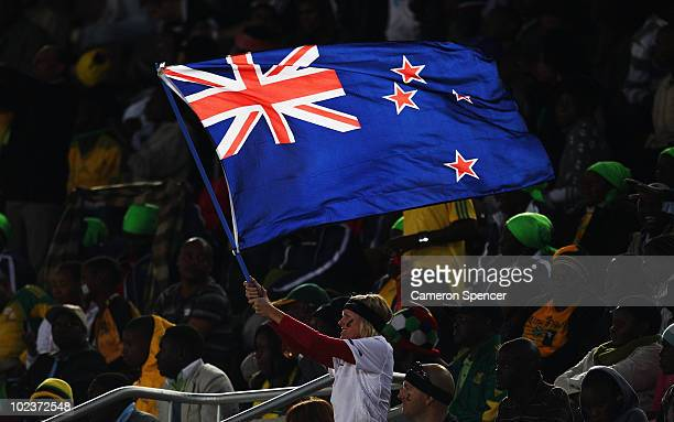 New Zealand flag waves her national flag during the 2010 FIFA World Cup South Africa Group F match between Paraguay and New Zealand at Peter Mokaba...