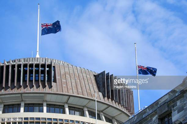 New Zealand flags fly at half-mast on the Beehive and Parliament House prior to a State Memorial Service for Prince Philip, Duke of Edinburgh, at the...