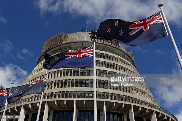 New Zealand flags fly in front of The Beehive during the Commission Opening of Parliament at Parliament on October 20, 2014 in Wellington, New...