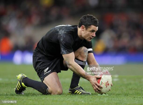 New Zealand fly half Dan Carter lines up a kick during the Autumn International rugby union match between Wales and New Zealand at The Millennium...