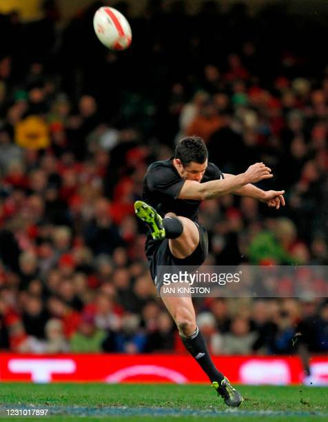 New Zealand fly half Dan Carter takes a kick during the Autumn International rugby union match between Wales and New Zealand at The Millennium...
